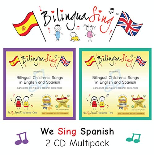 No.1 Spanish Songs CD for Toddlers & Preschoolers | 2 CD Pack Learn Spanish Nursery Rhymes | Award Winning BilinguaSing We Sing Spanish | Beginners Spanish 0-6 Years Old