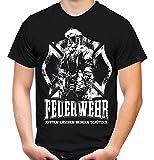 Feuerwehr Männer und Herren T-Shirt | Papa Held Hero FFW ||| M1 (M, Schwarz)