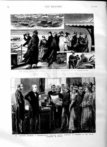 1884 MEMBRES INDIENS LONDRES DE MALLE DE FOLKESTONE D'HUILE