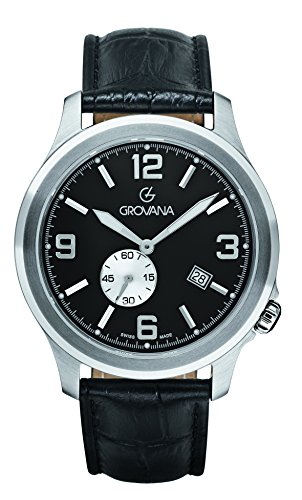 GROVANA 1631.1537 Men's Quartz Swiss Watch with Black Dial Analogue Display and Black Leather Strap
