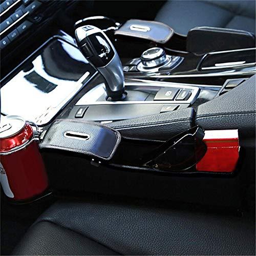 HELING Auto Seitentasche Organizer - Autositz Füller Lücke Raumkonsole Aufbewahrungsbox Flasche Getränkehalter Münzsammler mit Loch für USB-Kabel, Autoinnenausstattung (Schwarzes Leder)