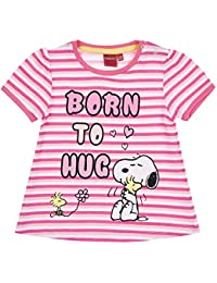 Snoopy Babies Girls Short Sleeve T-Shirt - Fuchsia