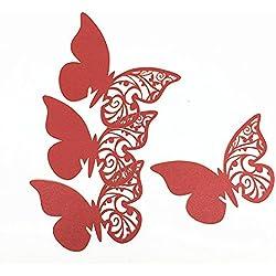 50 mariposas marcasitios de boda en rojo - más colores a elegir