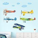 decalmile Stickers Muraux Avions Enfant Amovible Autocollant Décoration Murale pour Chambre Enfants Bébé Garçon Pépinière Salon