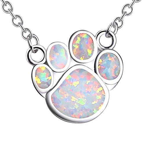 Herren Weiß Opal Haustiere Hunde-Pfote Anhänger Kurz Ketten Versilbert Halskette für Frauen Mädchen ()