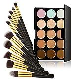 Chinatera 15 Farben Kontur Gesicht Creme Make-up Concealer Palette +10ST Pinsel (Schwarz+Golden)