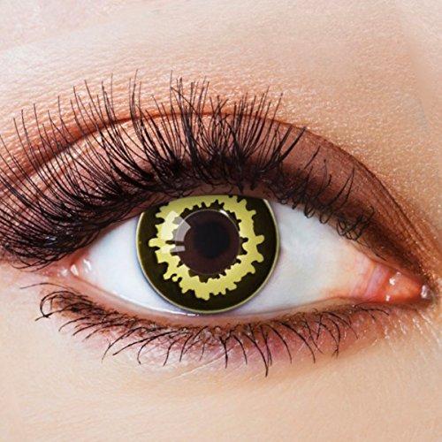 Farbige Kontaktlinsen Schwarz Ohne Stärke mit Motiv Schwarze Fun Linsen für Halloween Karneval Party Fasching Cosplay Kostüm Gelb Werewolf Wolf