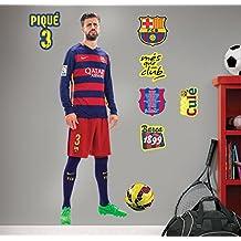 FC Barcelona Piqué - Vinilo decorativo oficial fútbol, 120 x 38 cm