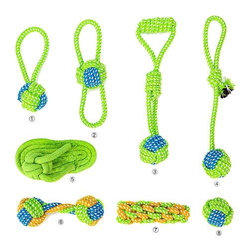 OTENGD 8PACK Dog Rope Toys Nearly Indestructible Dog Teething Playing Tug Chew Toy Set Interactive Training Washable Cotton for Small Medium Animal Dogs