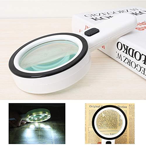 30X Lupe mit Licht 12 LED, Leichte Leselupe Handlupe mit Beleuchtung für zum Lesen, Inspektion, Handarbeiten, Reparieren, Hobby, Basteln