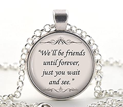 Winnie The Pooh Necklace, Friends Forever Quote Pendant, Friendship Jewellery Gift Ideas for Women & Best