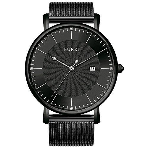 BUREI montre minimaliste Saphir Ultra fin montre pour homme élégante de luxe Date Noir montre bracelet pour homme avec bracelet en acier inoxydable Maille Milanaise Big Face