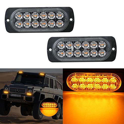 Ralbay Frontblitzer Orange Blitzer 12 LED Warnleuchte 12V-24V Kennleuchte Superhell Rundumleuchte Ultradünn für SUV LKW KFZ ATV Jeep Auto Motorrad mit 19 Blitzmuster 2 Stück