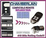 Chamberlain 418XE, Garagentorantrieb (EML EML), 4182E, 4183E, 4185E (EML EML) Kompatibel Ersatz Fernbedienung Remote Control Handsender, 418MHZ Rolling Code (Schlüsselanhänger)