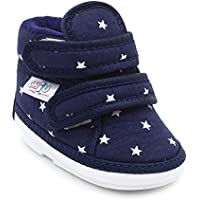 CHiU Unisex Chu with Double Strap Baby Boys & Girls Blue Booties-15-18 Months (C02-Star-Blue-5)