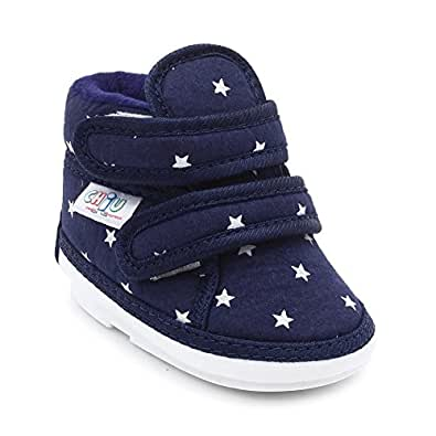 CHiU Unisex Chu with Double Strap Baby Boys & Girls Blue Booties-9-12 Months (C02-Star-Blue-3)