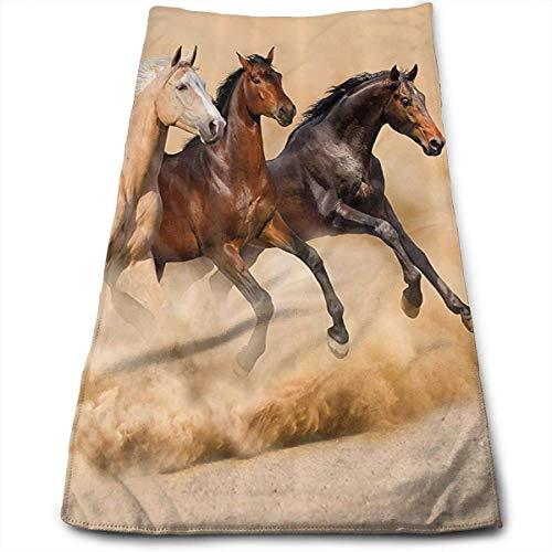 ewtretr Asciugamani Viso-Mani, Three Horse Running in Desert Storm Multi-Purpose Microfiber Towel...