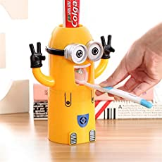 ShopAIS Plastic Minions Toothbrush Holder with Toothpaste Dispenser ( Multicolour)