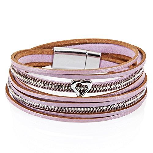 001 Leder (StarAppeal Armband Wickelarmband in Leder mit Herz, Kette und Magnetverschluss Silber, Damen Armband (Flieder-Grau))