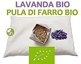 CUSCINO CERVICALE PULA DI FARRO BIO + LAVANDA e BUSTA IGIENICA RICICLABILE Misura: 40 x 60 cm