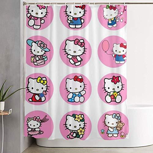 NHUXAYH Tenda da Doccia Cute Hello Kittys Stampa Artistica, Collezione di Decorazioni per Il Bagno in Tessuto di Poliestere con Ganci 60X72 Pollici