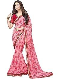 Pramukh Saris Women's Georgette Saree With Blouse Piece (P Pink Flower_Pink)
