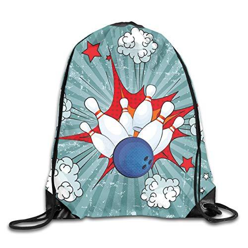 YOWAKi Printed Drawstring Backpacks Bags,Retro Comic Cartoon Ball Crash Image Pop Art Stars Aim Party Game Design,Adjustable String Closure -