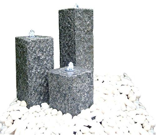 Dehner Gartenbrunnen Nizza mit LED Beleuchtung, ca. 77 x 56 x 35 cm, Granit, grau