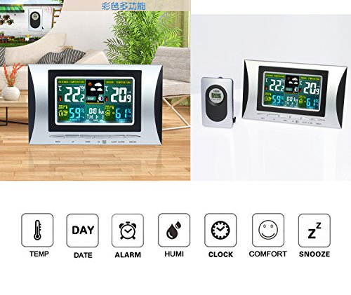 Wireless-temperatur-station (Wireless Weather Station Thermometer Hygrometer Indoor & Outdoor Wireless Weather Station with Forecast Temperature Humidity Outdoor Sensor Alarm clock (BLACK))