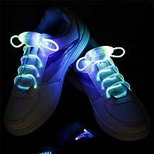Cordones para zapatos (LED Light Up cordones con 3modos, kangvo Flash Shoestrings para fiesta hip-hop baile ciclismo senderismo, azul