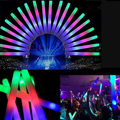 Aotoba 100PCS LED Blinkenden Lichtern Schaumstoff Leuchtstab mit Bunte Flashing Glow Foam Sticks Bunt leuchtende Schaum Taktstöcke Cheering Bang Tube für Parteien Festival Konzerte Raves Hochzeiten