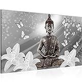 Bilder Buddha Blumen Wandbild Vlies - Leinwand Bild XXL Format Wandbilder Wohnzimmer Wohnung Deko Kunstdrucke 70 x 40 cm Grau 1 Teilig -100% MADE IN GERMANY - Fertig zum Aufhängen 505614c
