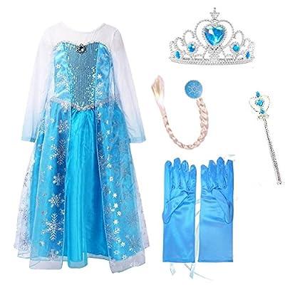 URAQT Vestido de Princesa Reina de las Nieves Disfraz Elsa Vestido Infantil Niñas Costume Azul de URAQT