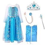 URAQT La Reine des Neiges Elsa Costume et Accessoires Gants Couronne Baguette Tresse Robe Longue deguisement Pour Fille