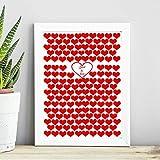 Cuadro de boda. Para firmas de invitados. Marco 56 cm x 46 cm. Personalizado. Incluye 100 corazones rojos o de madera de 5cm cada uno. Hecho en España