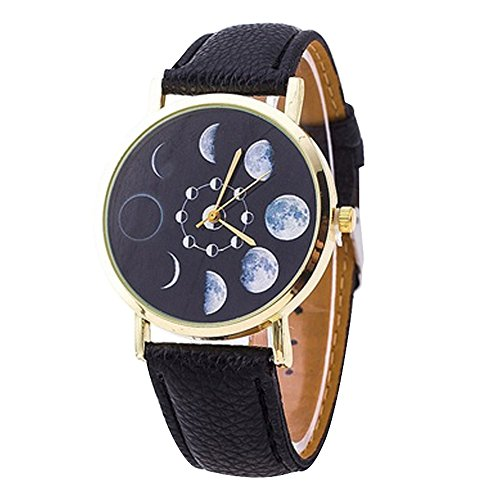 Bodhi2000 Unisex Mondphase Astronomie Space Watch Kunstleder Band Quarz-Armbanduhr