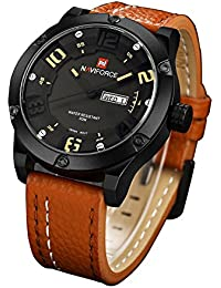 Naviforce Men's Analog Round Dial Rubber Hook Buckle Band 30M Quartz Movement Watch (9070A)