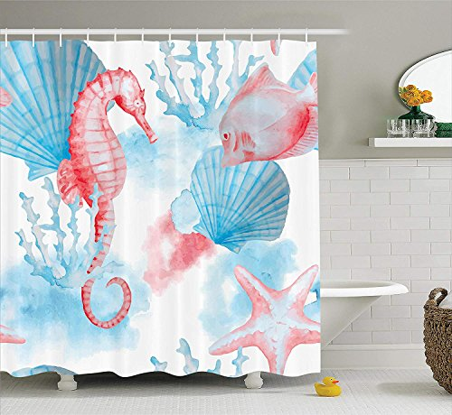 KRISTI MCCARTNEY Nautical Decor Collection, Sea Shells Seahorse and Fish Sandy Beach Exotic Stylized Watercolor Effect Print, Polyester Fabric Bathroom Shower Curtain Set with Hooks, Coral Blue White