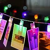 LED Photo Clip Chaîne Lights - 20 Photo Clips pour la décoration Suspendre Photo, Notes, Artwork Mémos - 2,2 Mètre   7,2 Pieds - 3 piles AA Alimenté (Multicolore)