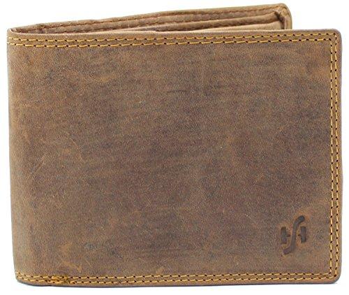 Starhide RFID GESCHÜTZT Herren Echt Beunruhigt Jäger Leder Brieftasche Mit Münzen Geldbörse Und ID-Karte Fenstertasche (Öl Braun) - 1060 (Braun Leder Tasche Echtes Patchwork)