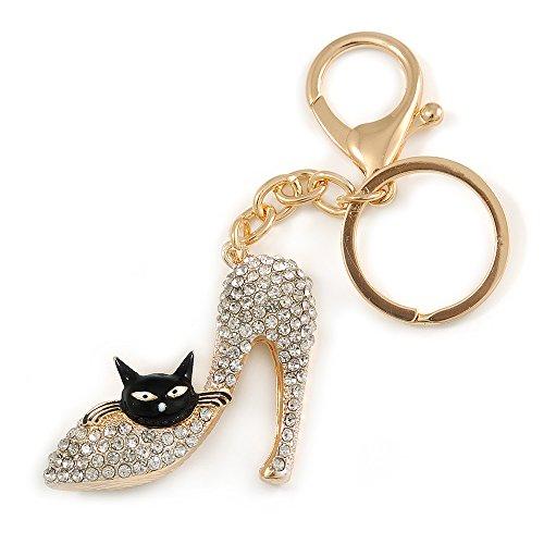Unbekannt Silberton Kristall klar High Heel Schuh mit Schwarz Emaille Katze Motiv Schlüsselanhänger/Tasche Charm In Gold Tone Metall-10cm L