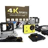 4 K Ultra HD Sports Caméra d'action Wifi 16 MP objectif grand angle écran LCD de 5,1 cm avec coque étanche jusqu'à 30 metres et accessoires de montage par TRIXES