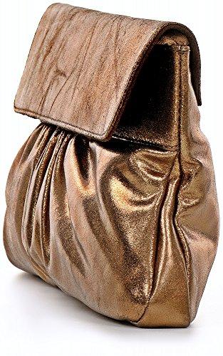 Pochette In Pelle Con Aspetto Metallico Da Borse In Pelle Da Donna In Pelle Metallizzata Cntmp, Pochette, Clutch, Pochette, Borse Da Avambraccio, Borse Da Sera, Borse Tendenza, Borsa In Metallo, Pelle, 37x21x2,5cm (larghezza X Altezza) Bronzo