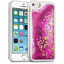 kwmobile Carcasa para Apple iPhone SE / 5 / 5S con líquido - Hardcase cobertura de batería funda protectora agua con Diseño bolas de nieve estrella en rosa fucsia oro transparente