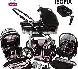 Chilly Kids Dino Kinderwagen Safety-Set (Autositz & ISOFIX Basis, Regenschutz, Moskitonetz, Getränkehalter, Schwenkräder) 41 Schwarz & Karo Grau & Naht Rosa