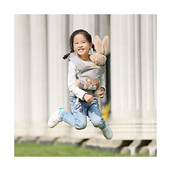 GAGAKU Muñeca Transporte Doll Carrier Delantera y Trasera de Bebé de Algodón para Niños de Hasta 18 Meses – Marrón Oso