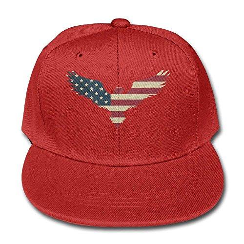 02bd8864cd9 Hanbaozhou American Flag Bald Eagle Youth Unisex Adjustable Flat Hat Bill  Snapback Baseball Cap Outdr Sports