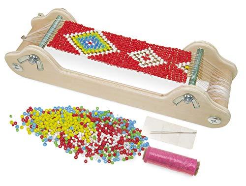 small foot 11251 Perlenwebrahmen aus Holz, zum Umsetzen individueller Schmuckdesigns Spielzeug, Mehrfarbig