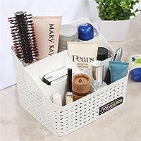 VANKER Plastic Desk Multi-grid Cosmetic Organizer Case Makeup Brushes Hollow Storage Box Holder Simple Easy Desk Tidy-Large; White
