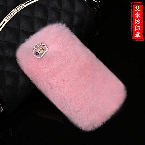 Coque iPhone 6 Plus/6s Plus , iNenk® Nouveau lapin cheveux souple TPU Housse Etui Luxe Diamond Glitter perle marée manchon de protection en peluche créatif stylisme pour femmes-gris Rose